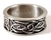 Celtic Wedding Ring, Recycled Silver Ring, 925 Sterling Silver Celtic Knot Ring, Black Patina, Hand Crafted Rings in Your Size CR-112b