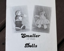 Knitted Doll Clothes Pattern Vintage Paperback Knitting Booklet 1984 - Doll Dress Bonnet Shoes Bunting Bag Dress up Doll Knitting Pattern
