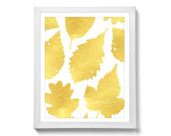 Gold leaf art Printable leaf art gold Leaf print fall leaves autumn leaves Gold foil print gold foil art Printable art printable wall art
