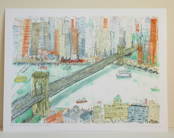 BROOKLYN BRIDGE Print New York City Watercolor Painting, Pier 17 DUMBO Nyc, Signed Limited Edition Giclee Print Clare Caulfield, Nyc Skyline
