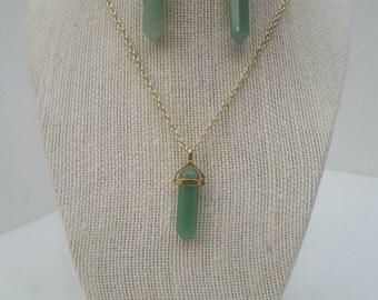 Green Quartz Briolette Drop Statement Necklace and Earring Set