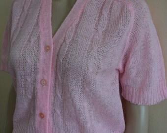 Preppy baby Doll pink 50s acrylic rockabily cardigan sweater tank top knit Pinup