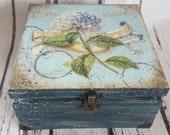 Blue Hydrangea Vintage  Tea Box, wooden Tea caddy