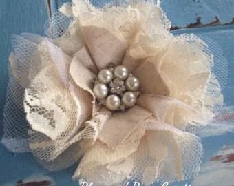Natural Cream Tan Fabric Flower with Pearls, Bridal Hair Flowers, Wedding Hair Flowers, Bridesmaid Hair Flower Clip, Headband, Wedding