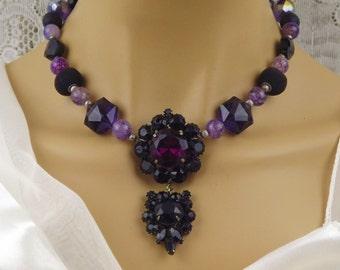 Black/Plum/Purple Statement Necklace,Romantic Gothic Wedding Necklace-Drop Pendant Necklace,Vintage Brooch Redesign Necklace,Magnetic Clasp