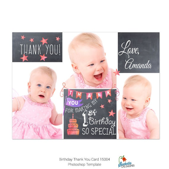 Birthday Thank You Card Photoshop Template 15004 From