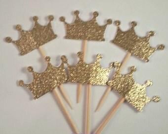 12 Gold Glitter Princess Crown Cupcake picks  - Tiara Gold and Pink Party - Tiarra Royal Appetizer picks - Prince Party - Wedding Decor