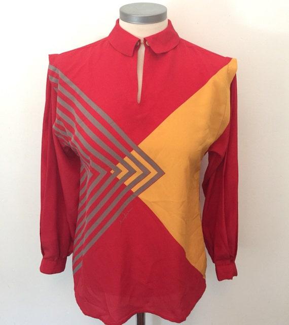vintage blouse red shirt Italian style Mario Pucci Cecconi faux silk avant garde graphic print gold button geometric UK 8