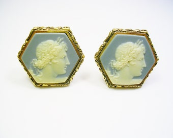 Vintage Cufflinks, DANTE Greek Mythology, APOLLO, Museum Masterpiece, Incolay Stone, Formal Wear / Man Wedding Jewelry / Cameo Cuff Links