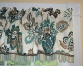 Teal Brown Cream Braemore Floral Toile Valance 17 X 54 Drapery Weight Curtain Window Treatment