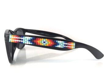 Polarized Sunglasses, Beaded Sunglasses, Rainbow Navajo-Inspired Sunglasses, Ray Ban Style, Hand Beaded, Seed Beads, Wayfarer Sunglasses