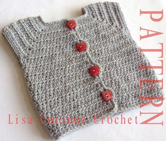 Crochet Baby Waistcoat Pattern : Baby Girl Sweater Vest Crochet PATTERN Baby Sweater PATTERNS