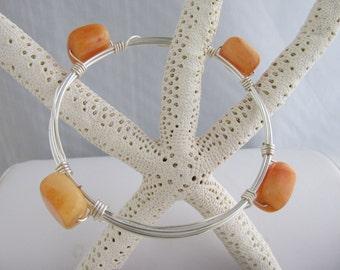 Carnelian Bracelet, Silver Bracelet, Bangle Bracelet, Wire Bracelet, Bangle Bracelet