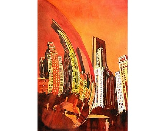 Downtown skyscrapers relfected in sculpture in Millennium Park- Chicago, Illinois.  Watercolor painting.  Chicago art.  Watercolor giclee
