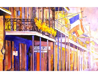 Watercolor painting of colonnaded hotel and street in French Quarter, New Orleans.  New Orleans painting.  French Quarter painting.