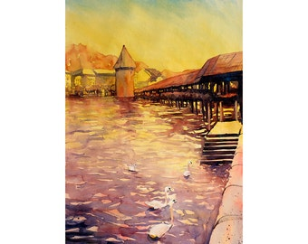 Swans swimming in front of  Chapel Bridge & Water Tower in city of Lucerne, Switzerland.  Watercolor landscape painting Lucerne yellow print