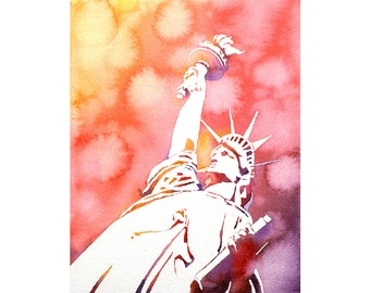 Watercolor painting of Statue of Liberty silhouetted at sunset in New York Harbor- New York City, NY.  Art Statue of Liberty watercolor