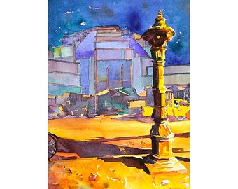 Watercolor painting of Central Market (Psar Thmei) at night in the colonial city of Phnom Penh- Cambodia.  Cambodia art painting Phnom Penh