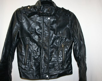 Vintage Women's Imitation Calf Skin Leather Waist Jacket size S/P