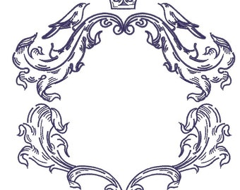 floral frame, crown, and birds - Embroidery digitizing