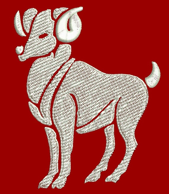 Aries zodiac sign machine embroidery design three sizes