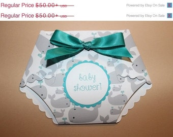 10% off 25 printed whale print baby shower diaper  invitations W/  embellishments and white envelopes