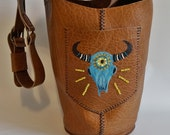 Buffalo Hand Painted XL Market Bag Beaded Leather