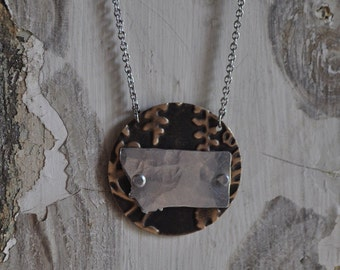 Embossed Brass Nature Montana Necklace