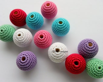 Crochet beads 27mm Crochet bead 33mm Large crochet beads Coloured beads Wooden crochet cotton beads Crocheted bead Round beads