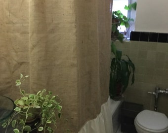 burlap shower curtain natural bottom shower curtain farmhouse