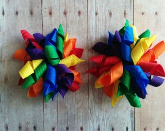 Mini Korker Bow Hair Clip Set- Primary Rainbow Colors Grosgrain Ribbon, Quick Ship, Made in USA, Great for Pigtails