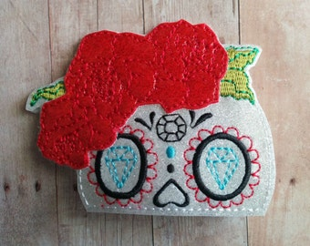 Sugar Skull Hair Clip, White and Red Glitter Vinyl with French Barrette, Mexican Day of the Dead, Embroidered Sugar Skull, De Los Muertos