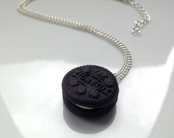 Oreo Necklace Polymer Clay Miniature Food Jewelry [jewellery] Gift Idea