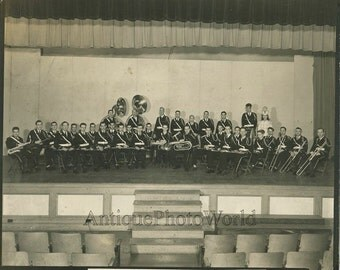 Military cadet music wind band on stage antique photo