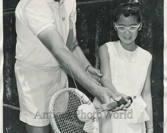 D. van der Meer tennis champ w student vintage photo
