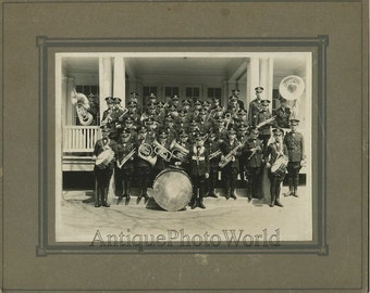 Military cadet wind music band antique photo