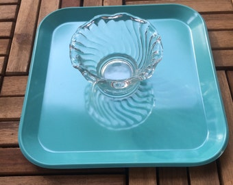 Turquoise Serving Tray / Bird Feeder