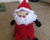 "Santa Claus/Rudolph the Red-Nosed Reindeer TransformKnit, Hand knit, approx. 7"" tall, reversible doll, video demo available"