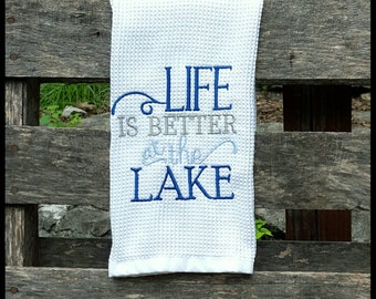 Embroidered Kitchen Towel, Kitchen Towels, Embroidered Towel, Housewarming Gift, Wedding Gift, Wedding Present, Lake House, Dish Towel
