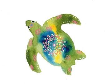 Sea Turtle, Turtle, Sea Creatures, Greeting Cards, Blank Note Cards, Blank Notecards, Thank You Cards, Birthday Card, Animal Cards, Mandala