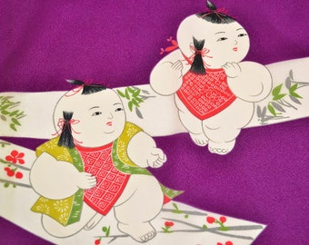FUROSHIKI WRAPPING - Playing Samurai Boys Tanzaku Paper - D90a