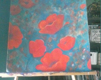 Poppies on Teal Original art painting