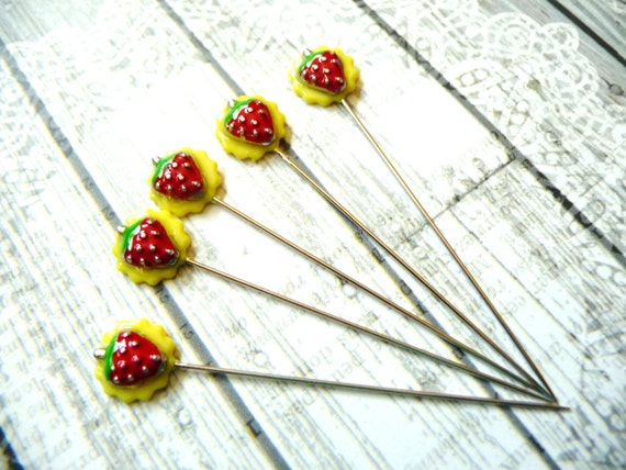 5 strawberry handmade decorative 2 inch stick pins for Decorative pins for crafts