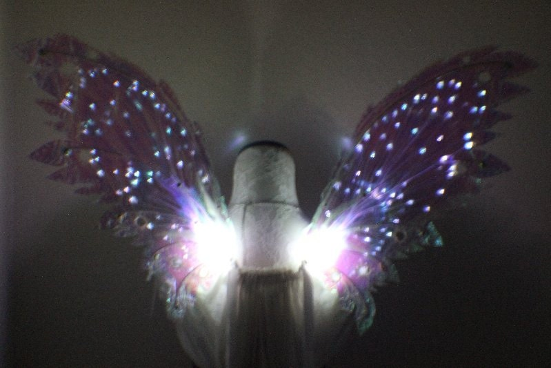 White Iridescent Fairy Wings With White Led Lights Iridescent