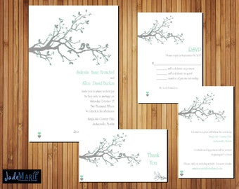 Printable wedding invitation suite- Invite, RSVP, Info/Reception card- Mint_gray Lovebirds [The Sakenia Design]