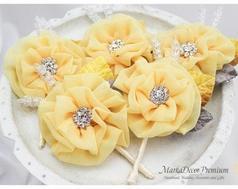 Set of 5 Groom Groomsmen Father Boutonniere Wedding Bridal Flower Corsage Buttonhole in Yellow Maize, Gray and Ivory