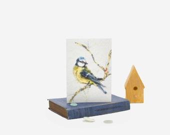 bluebird card,bluetit bird card garden bird greeting card