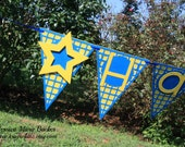Star Theme Party Banner, Blue and Yellow, Personalized Banner, Birthday, Baby Shower, Name Sign, MADE TO ORDER