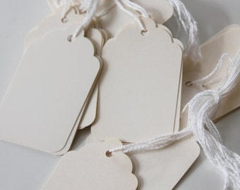Elegant Ivory Scallop Gift Tags, Pack of 51; Utilitarian Manilla Pricing Tags, Pack of 100; Price Tags, Gift Tags, Shopping Labels