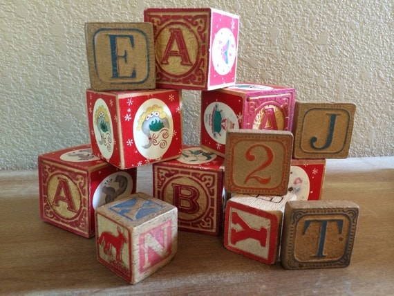 Vintage wooden blocks